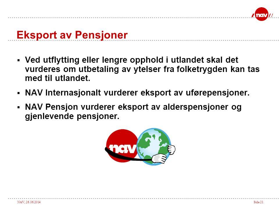 Eksport av Pensjoner