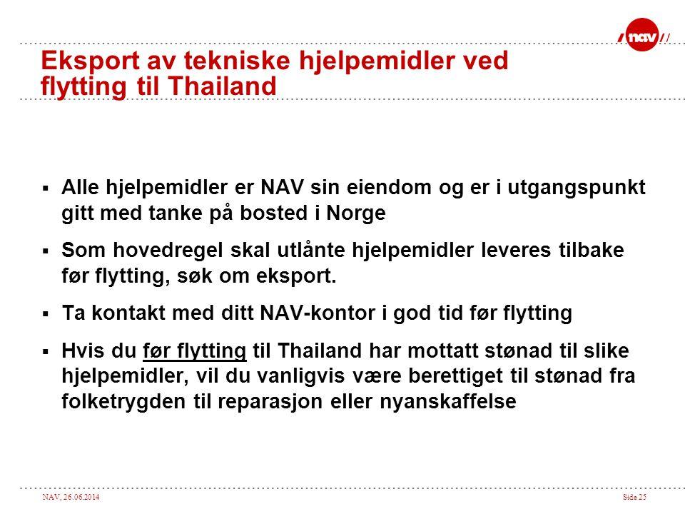 Eksport av tekniske hjelpemidler ved flytting til Thailand