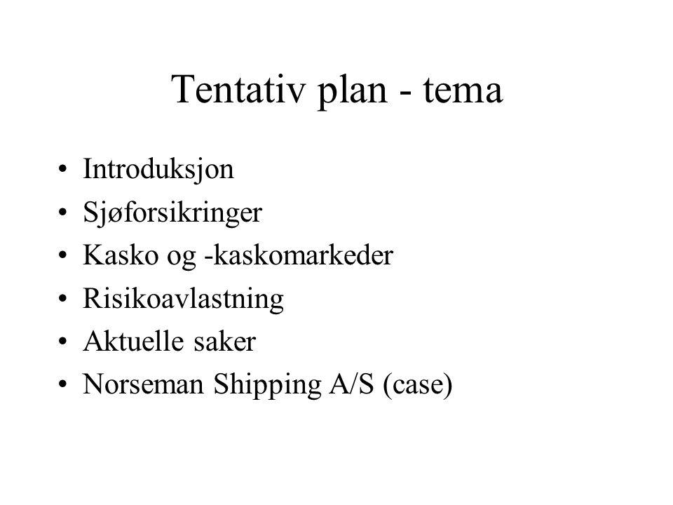 Tentativ plan - tema Introduksjon Sjøforsikringer