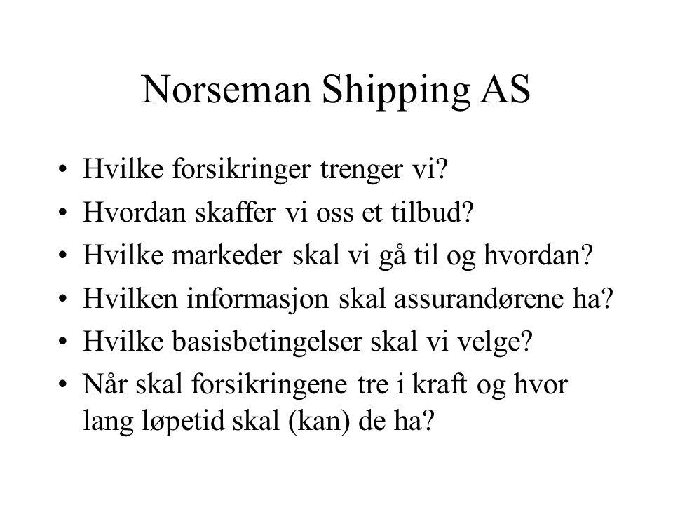 Norseman Shipping AS Hvilke forsikringer trenger vi