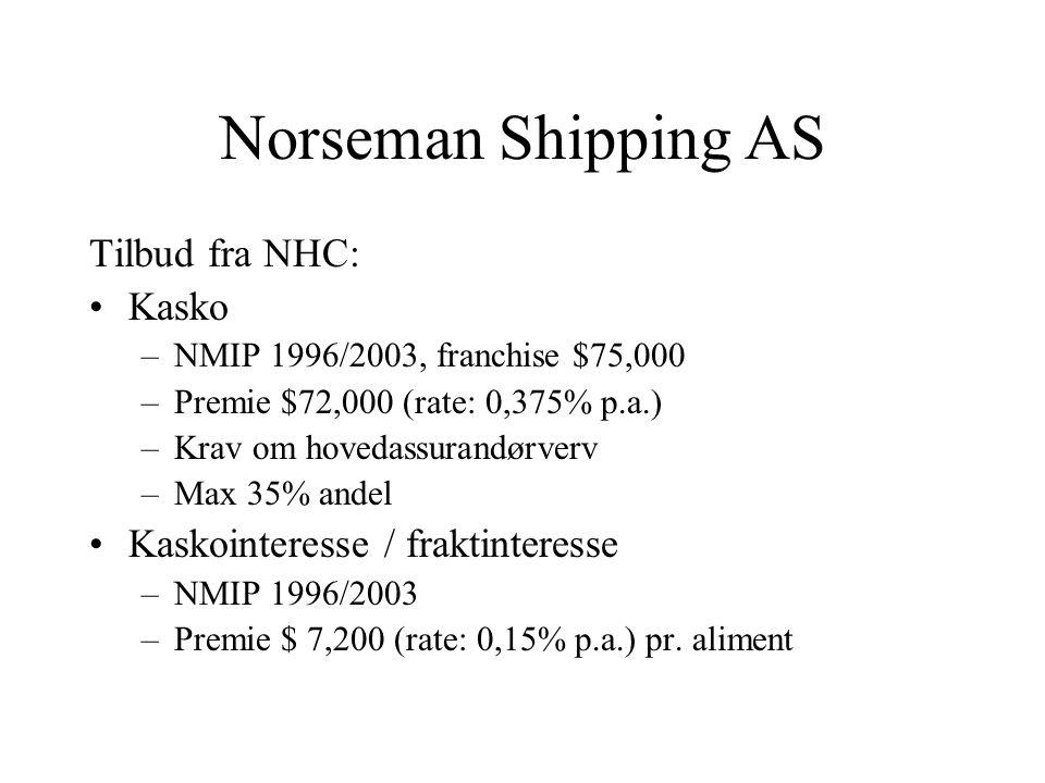 Norseman Shipping AS Tilbud fra NHC: Kasko