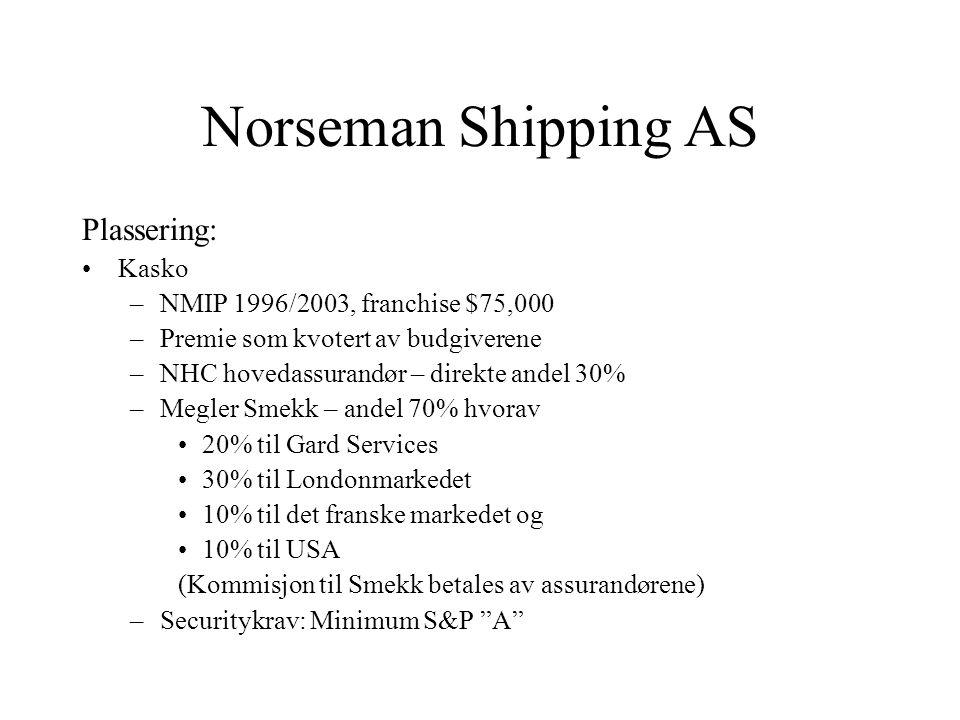 Norseman Shipping AS Plassering: Kasko