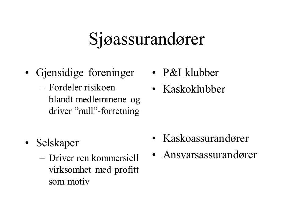Sjøassurandører Gjensidige foreninger Selskaper P&I klubber