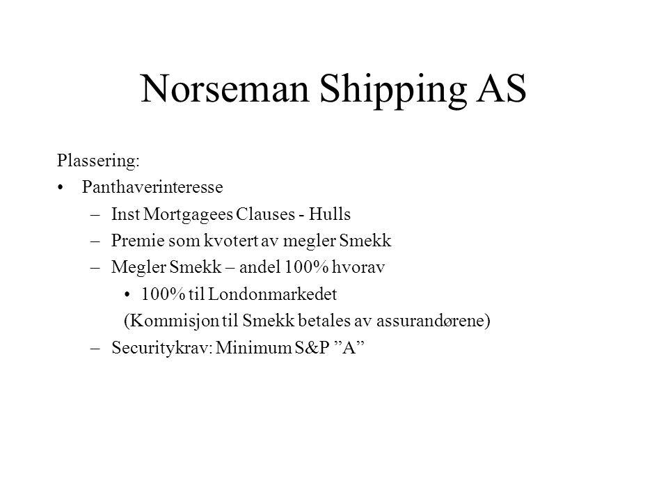 Norseman Shipping AS Plassering: Panthaverinteresse