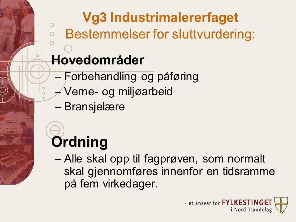 Vg3 Industrimalererfaget Bestemmelser for sluttvurdering: