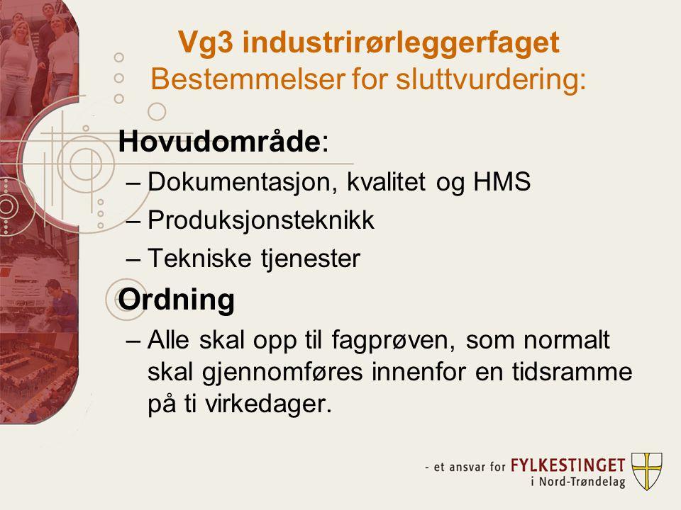 Vg3 industrirørleggerfaget Bestemmelser for sluttvurdering: