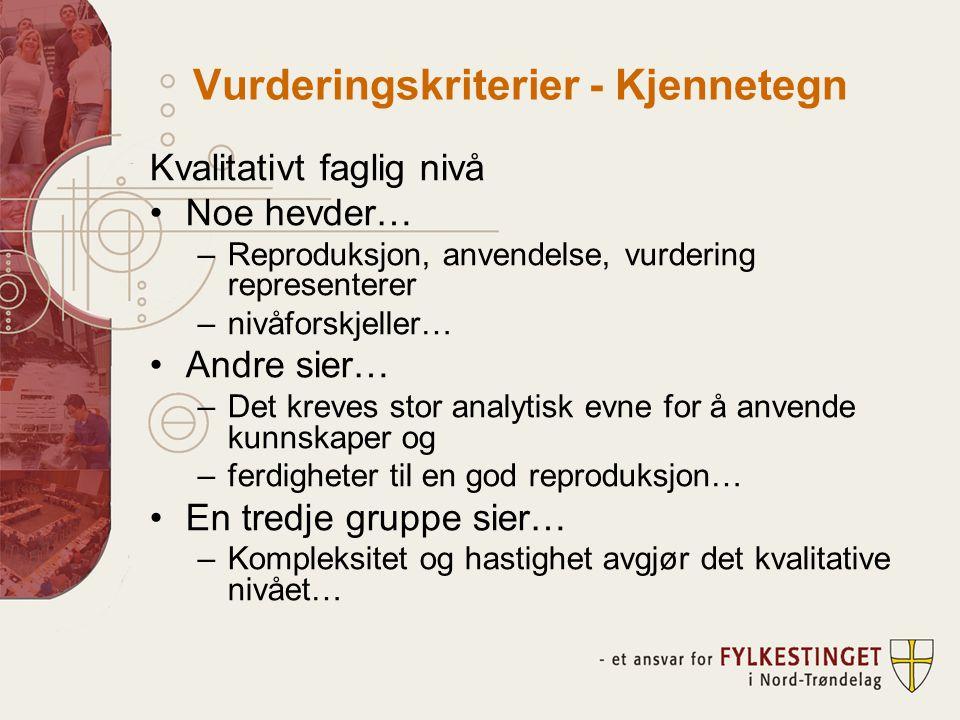 Vurderingskriterier - Kjennetegn