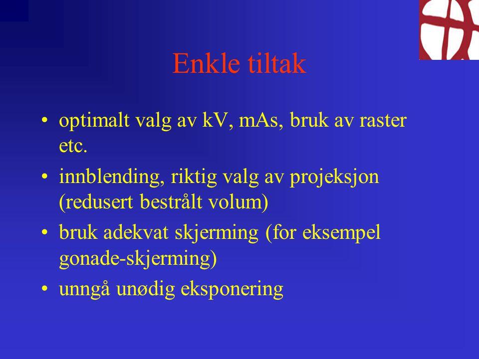 Enkle tiltak optimalt valg av kV, mAs, bruk av raster etc.