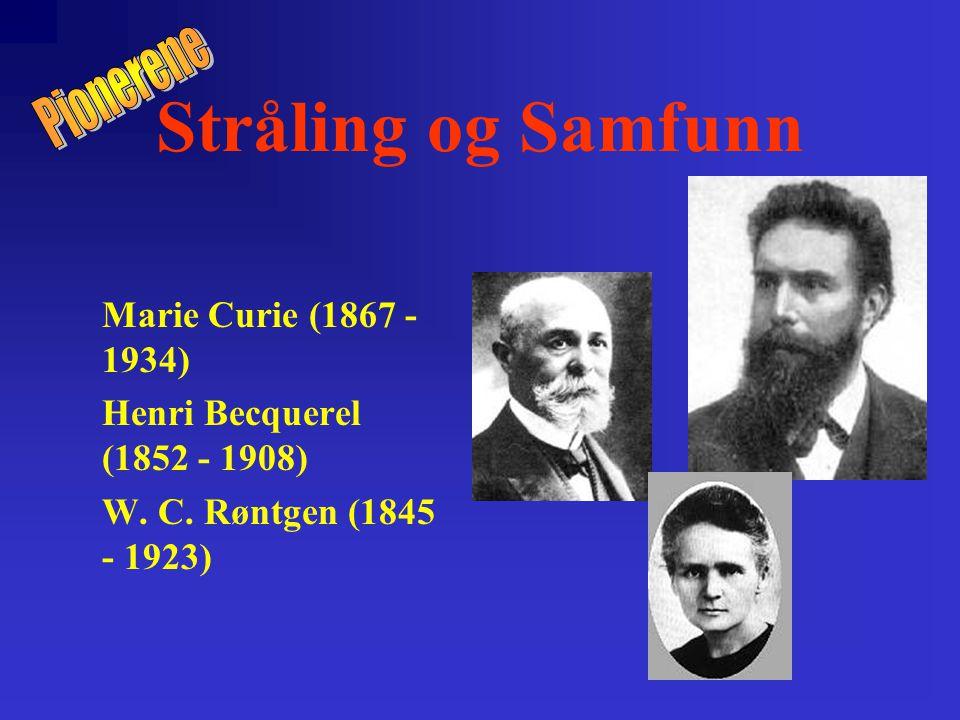 Stråling og Samfunn Pionerene Marie Curie (1867 - 1934)