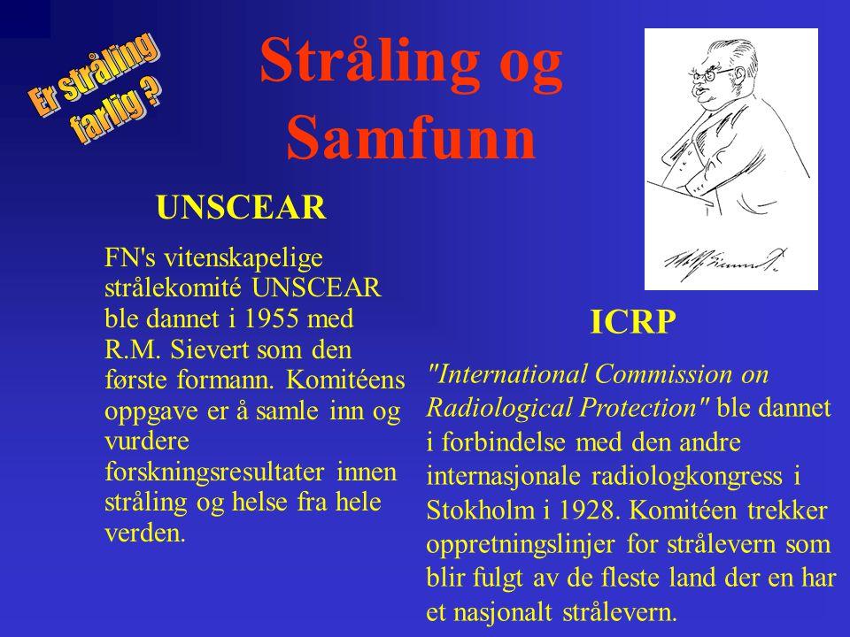 Stråling og Samfunn UNSCEAR ICRP Er stråling farlig