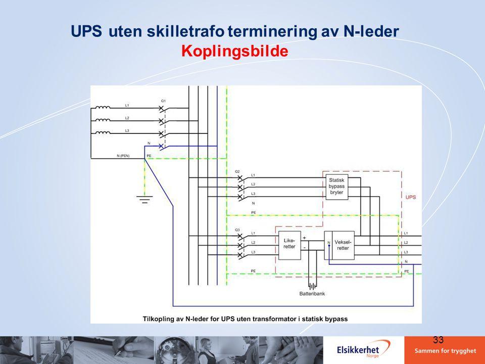 UPS uten skilletrafo terminering av N-leder Koplingsbilde