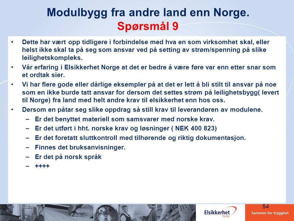 Modulbygg fra andre land enn Norge. Spørsmål 9