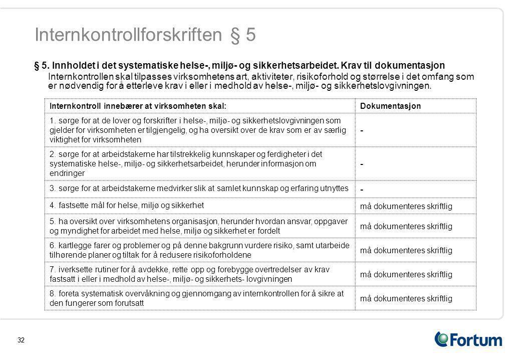 Internkontrollforskriften § 5