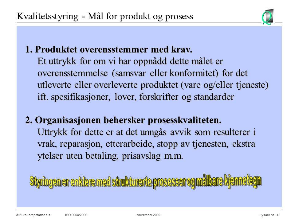Styringen er enklere med strukturerte prosesser og målbare kjennetegn