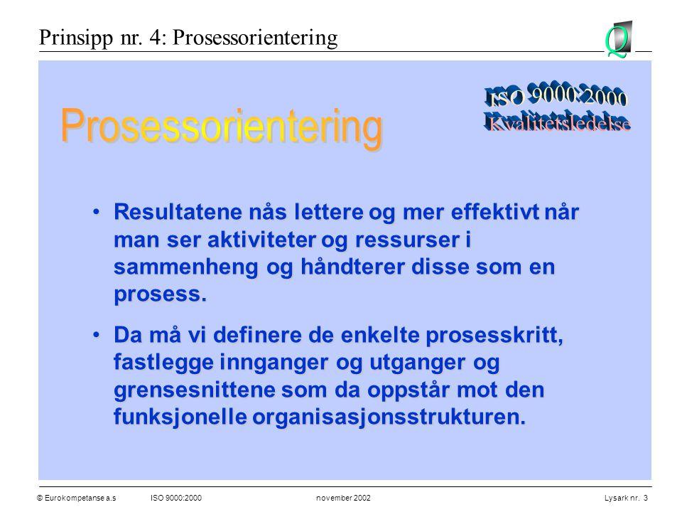 Prosessorientering Prinsipp nr. 4: Prosessorientering ISO 9000:2000