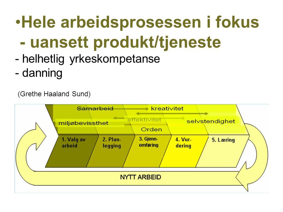 Hele arbeidsprosessen i fokus - uansett produkt/tjeneste - helhetlig yrkeskompetanse - danning (Grethe Haaland Sund)