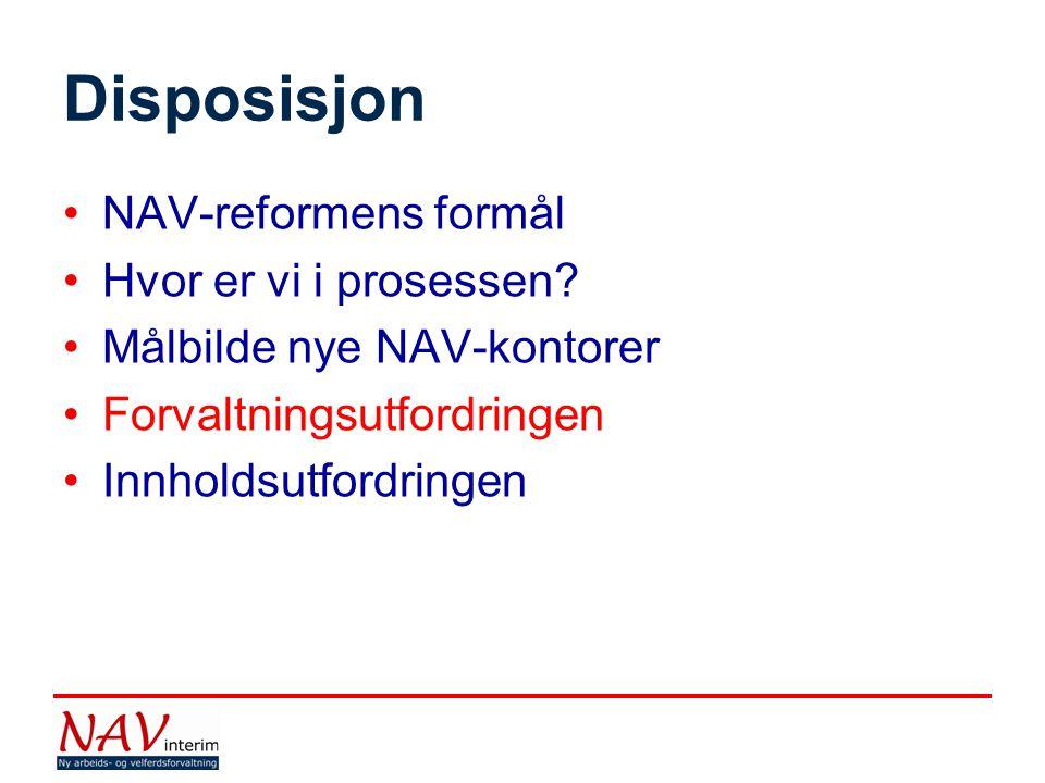 Disposisjon NAV-reformens formål Hvor er vi i prosessen