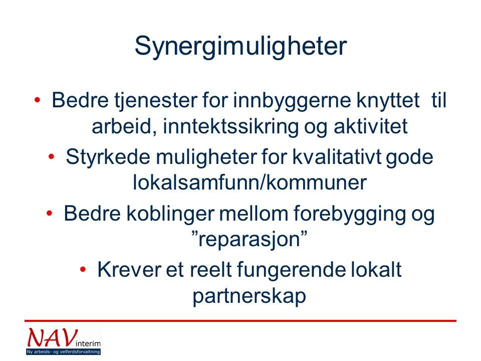 Synergimuligheter Bedre tjenester for innbyggerne knyttet til arbeid, inntektssikring og aktivitet.