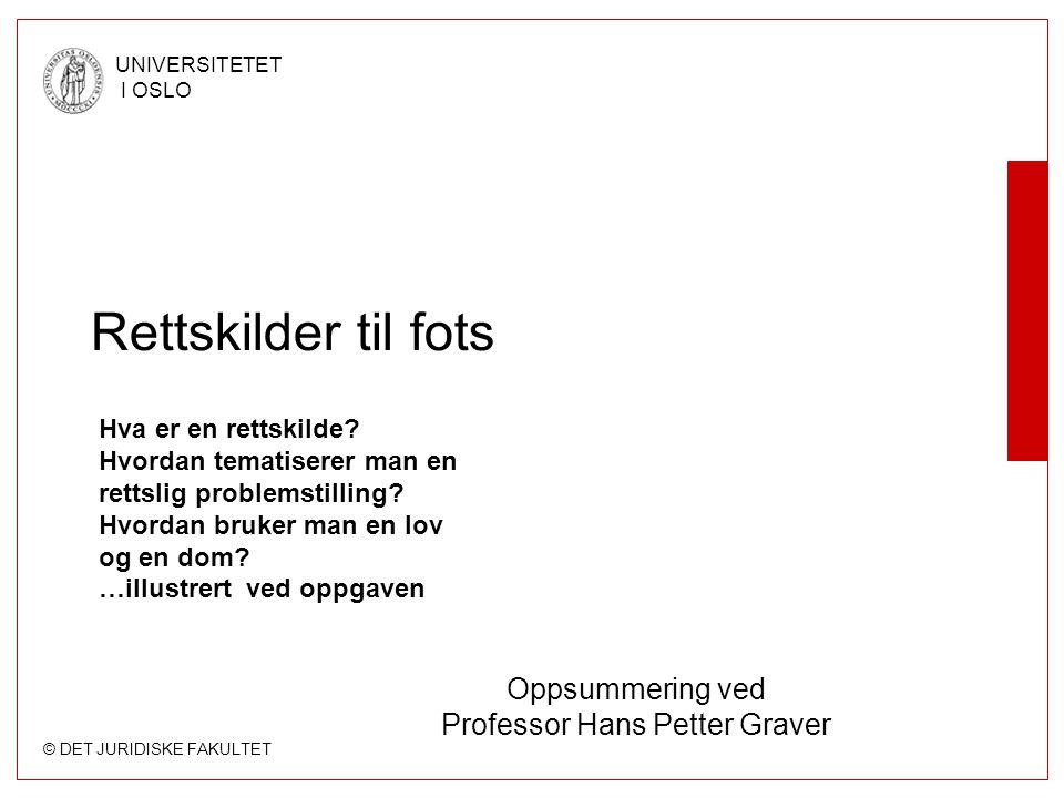 Oppsummering ved Professor Hans Petter Graver