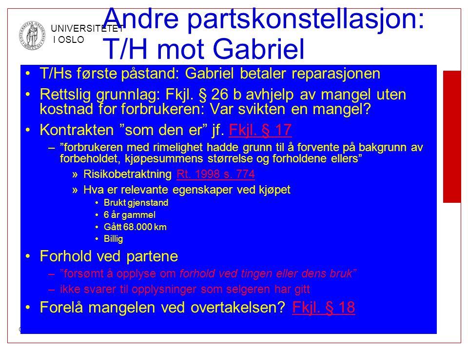 Andre partskonstellasjon: T/H mot Gabriel