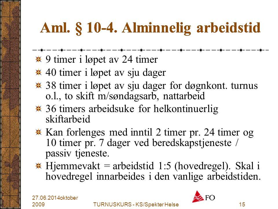 Aml. § 10-4. Alminnelig arbeidstid
