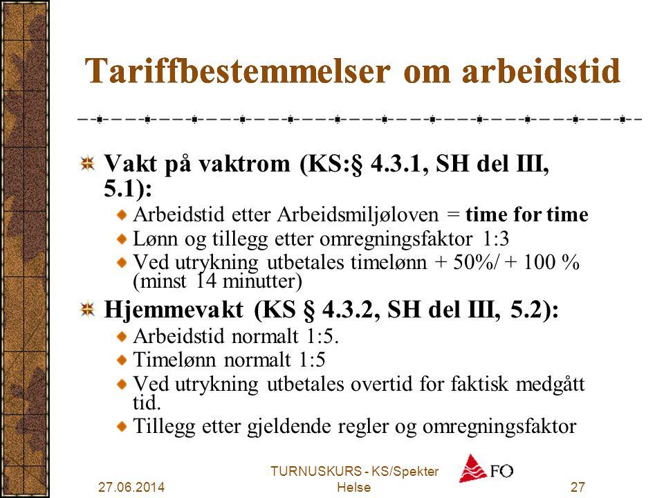 Tariffbestemmelser om arbeidstid