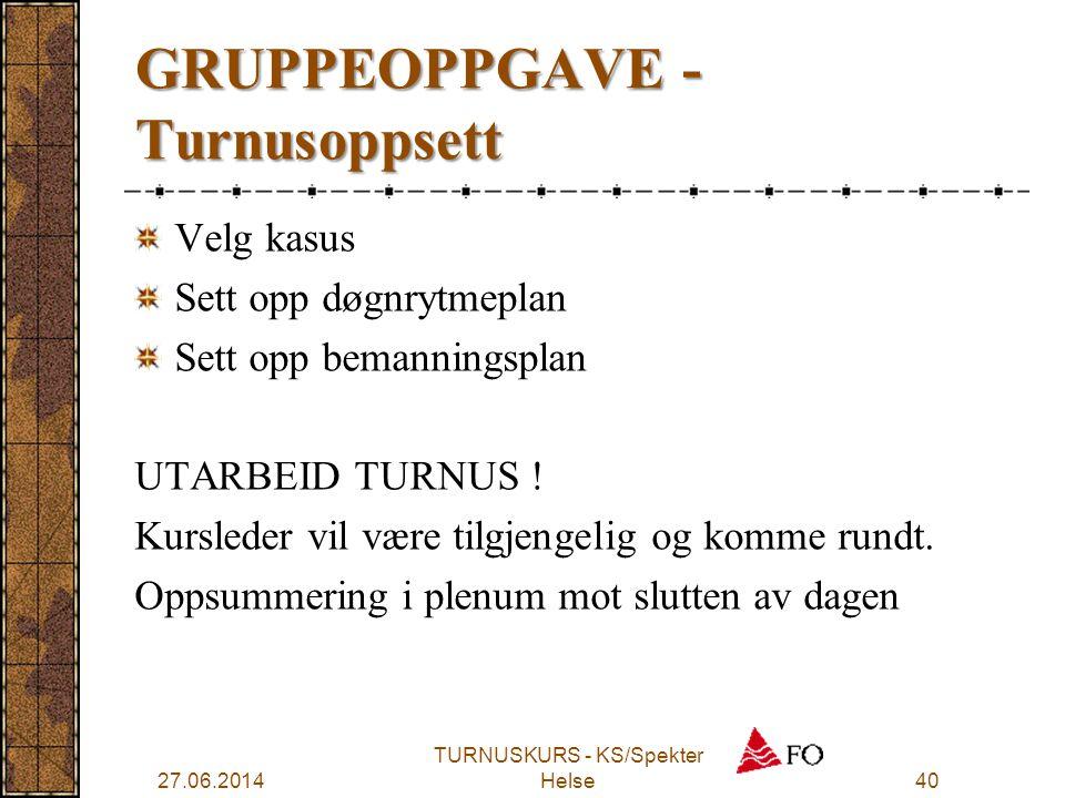 GRUPPEOPPGAVE - Turnusoppsett