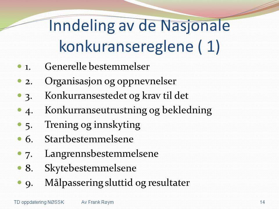 Inndeling av de Nasjonale konkuransereglene ( 1)