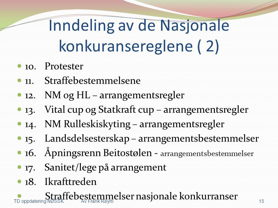 Inndeling av de Nasjonale konkuransereglene ( 2)