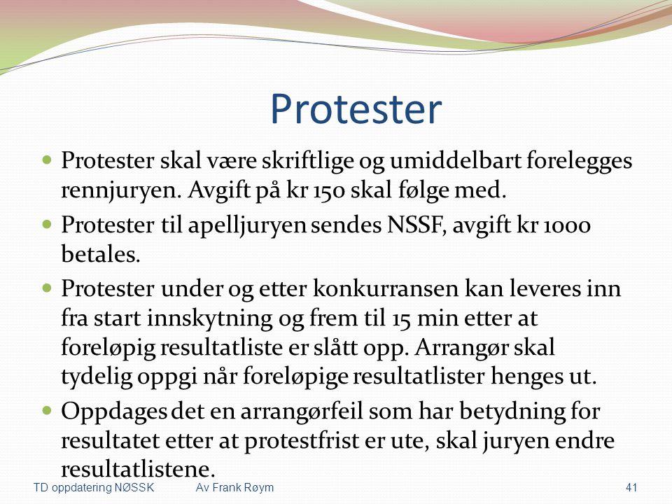 Protester Protester skal være skriftlige og umiddelbart forelegges rennjuryen. Avgift på kr 150 skal følge med.
