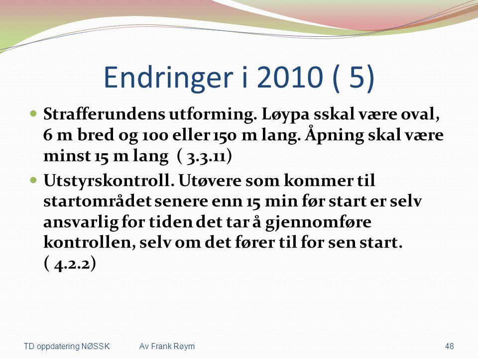 Endringer i 2010 ( 5) Strafferundens utforming. Løypa sskal være oval, 6 m bred og 100 eller 150 m lang. Åpning skal være minst 15 m lang ( 3.3.11)