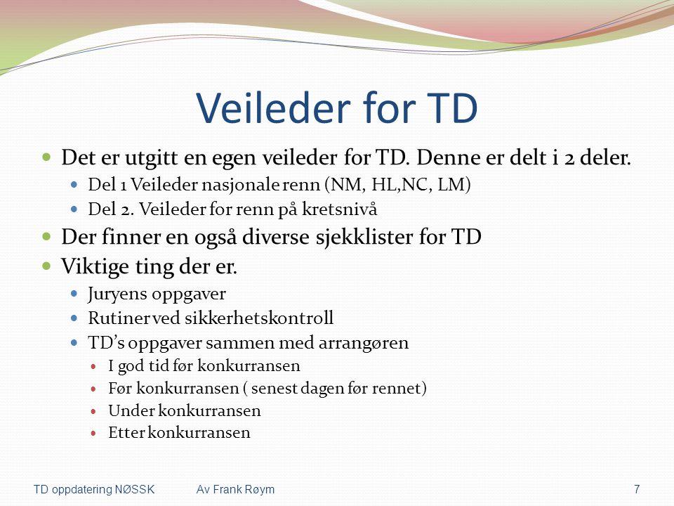 Veileder for TD Det er utgitt en egen veileder for TD. Denne er delt i 2 deler. Del 1 Veileder nasjonale renn (NM, HL,NC, LM)