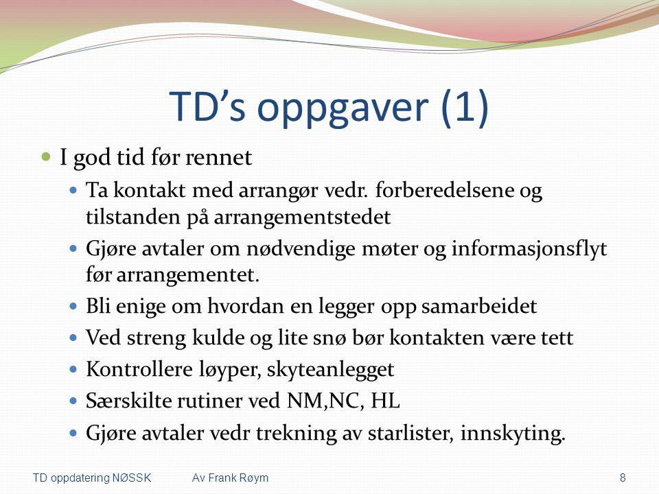 TD's oppgaver (1) I god tid før rennet