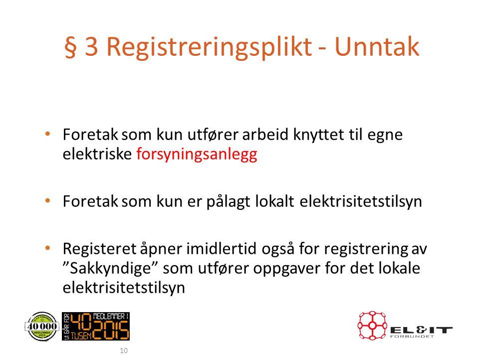 § 3 Registreringsplikt - Unntak