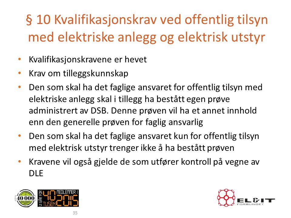 § 10 Kvalifikasjonskrav ved offentlig tilsyn med elektriske anlegg og elektrisk utstyr