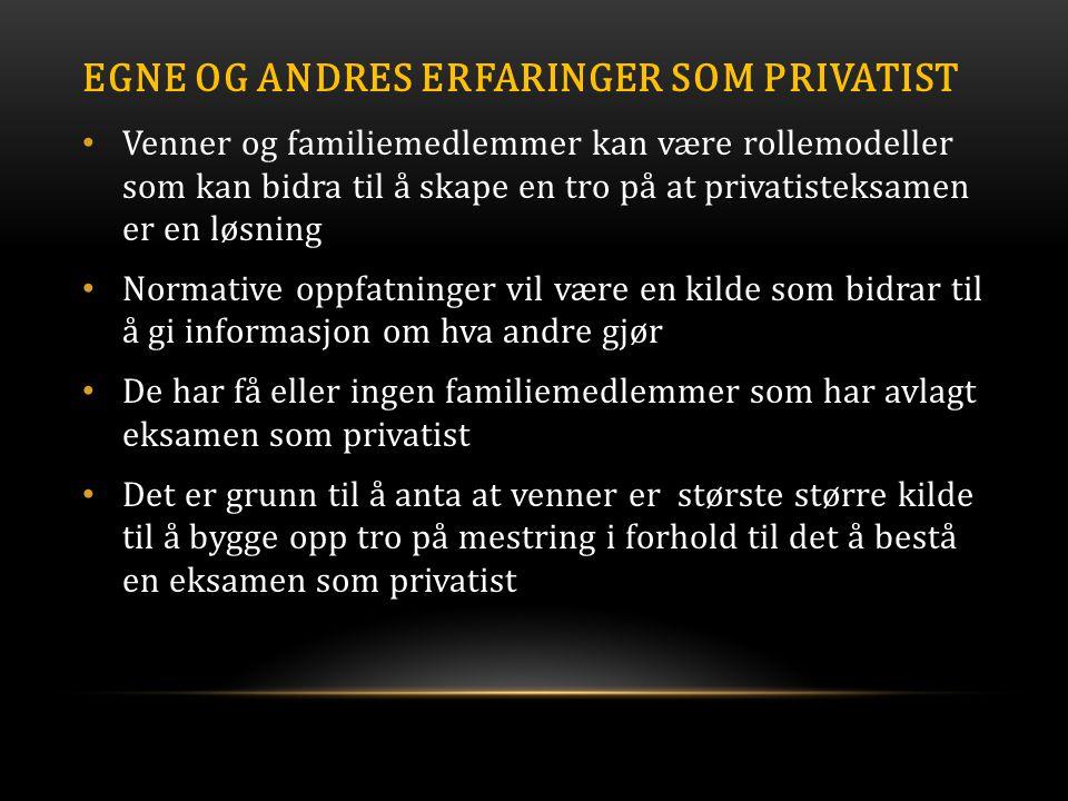 Egne og andres erfaringer som privatist