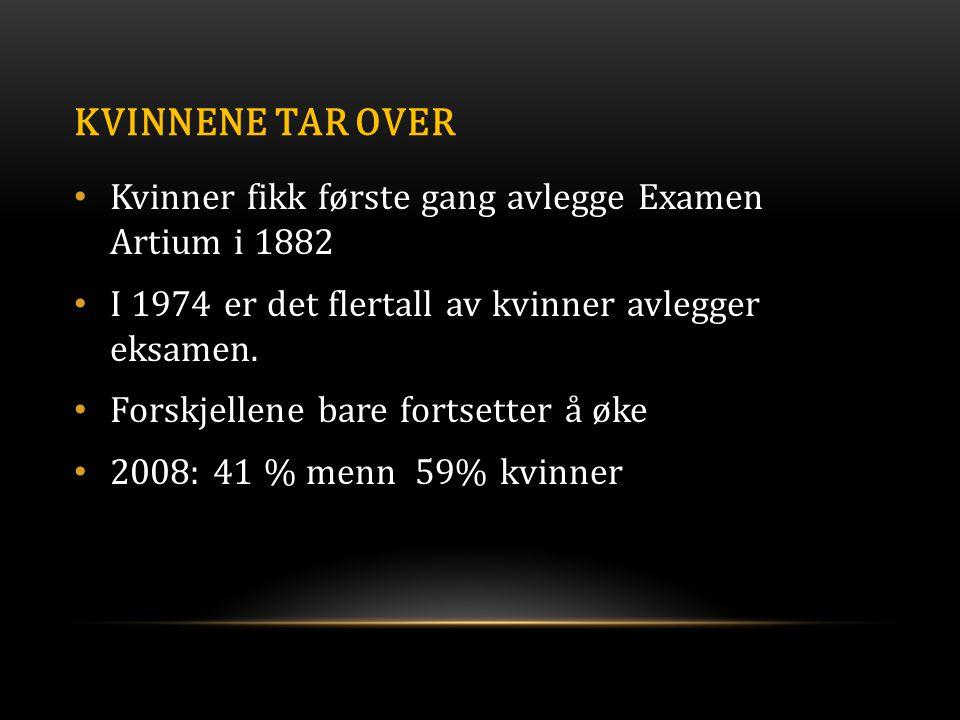 Kvinnene tar over Kvinner fikk første gang avlegge Examen Artium i 1882. I 1974 er det flertall av kvinner avlegger eksamen.