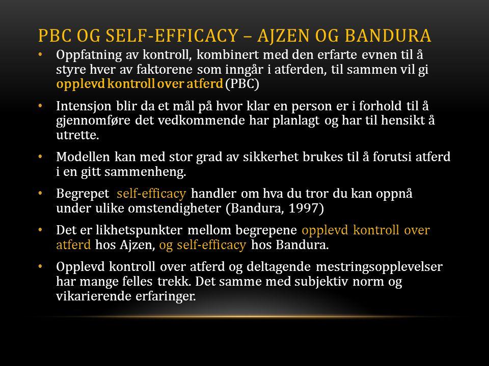 PBC og Self-Efficacy – Ajzen og bandura