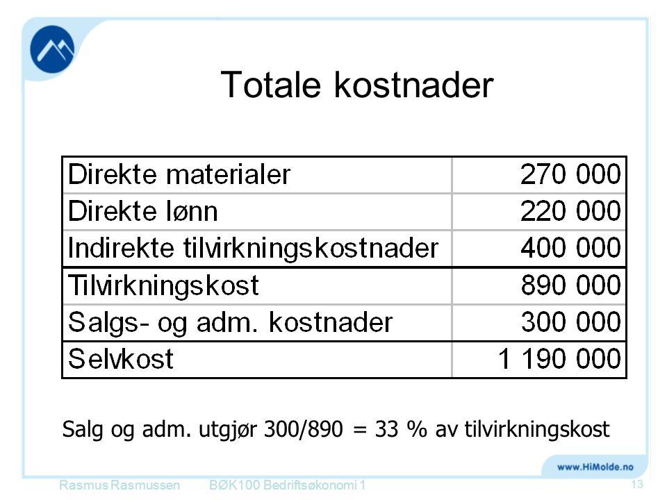 Totale kostnader Salg og adm. utgjør 300/890 = 33 % av tilvirkningskost.