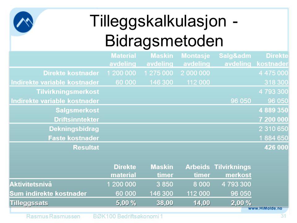 Tilleggskalkulasjon - Bidragsmetoden