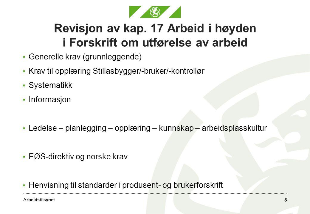 Revisjon av kap. 17 Arbeid i høyden i Forskrift om utførelse av arbeid