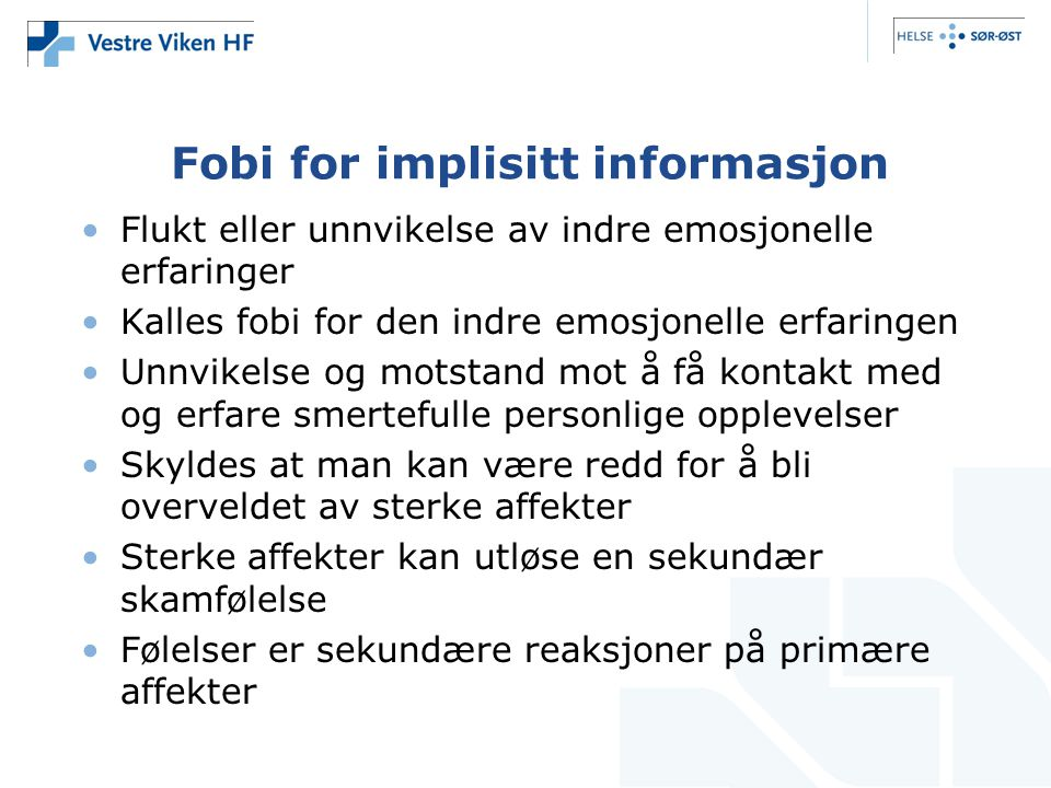 Fobi for implisitt informasjon