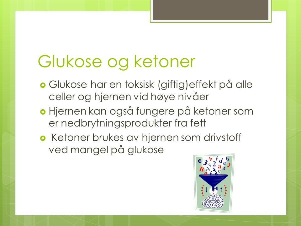Glukose og ketoner Glukose har en toksisk (giftig)effekt på alle celler og hjernen vid høye nivåer.
