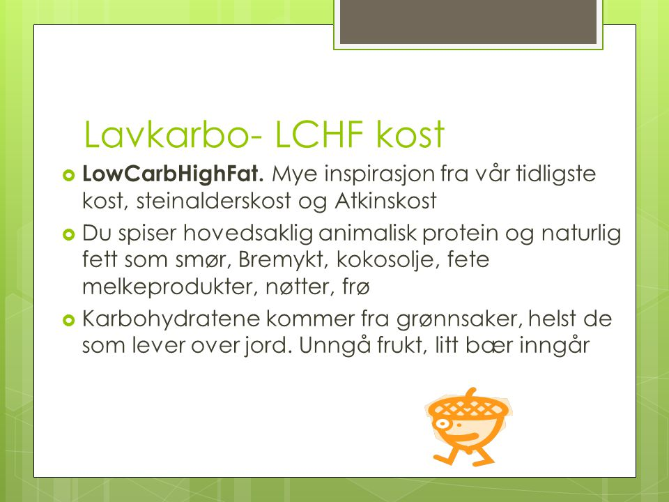 Lavkarbo- LCHF kost LowCarbHighFat. Mye inspirasjon fra vår tidligste kost, steinalderskost og Atkinskost.