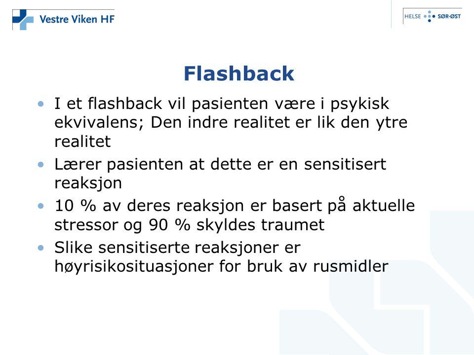 Flashback I et flashback vil pasienten være i psykisk ekvivalens; Den indre realitet er lik den ytre realitet.