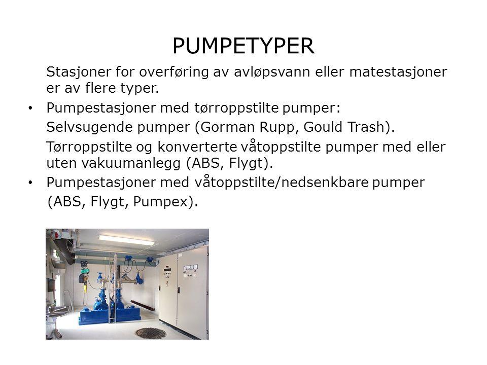 PUMPETYPER Stasjoner for overføring av avløpsvann eller matestasjoner er av flere typer. Pumpestasjoner med tørroppstilte pumper: