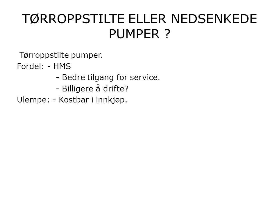 TØRROPPSTILTE ELLER NEDSENKEDE PUMPER