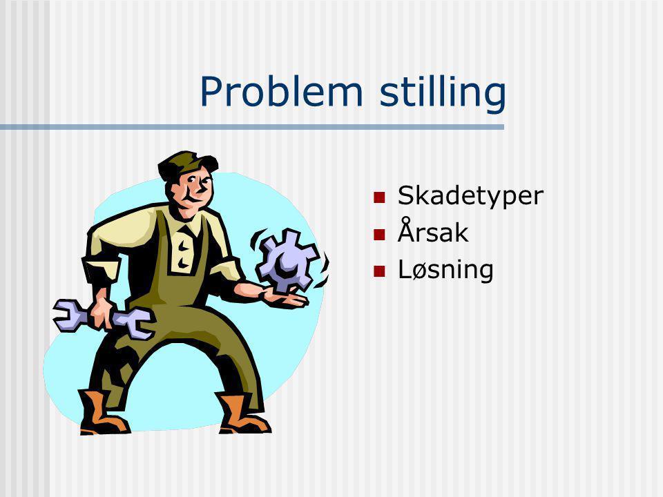 Problem stilling Skadetyper Årsak Løsning