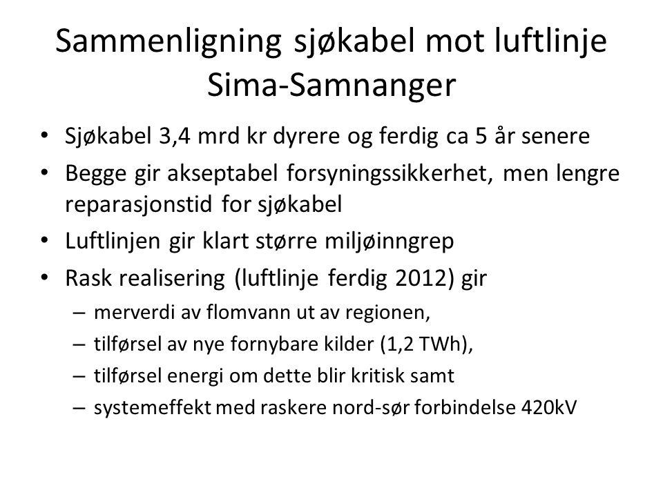 Sammenligning sjøkabel mot luftlinje Sima-Samnanger