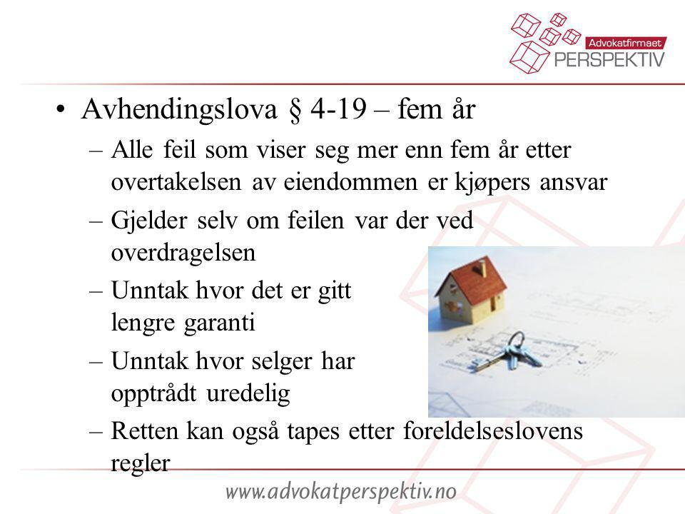 Avhendingslova § 4-19 – fem år